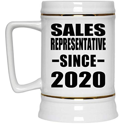 Sales Representative Since 2020-22oz Beer Stein Bierkrug Keramik Bierhumpen Bar Becher Kneipenkrug - Geschenk zum Geburtstag Jahrestag Muttertag Vatertag Ostern Sale Vintage Milk Glass
