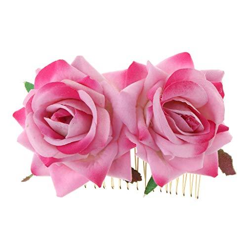Fenteer Hochzeit Haarkämme Haarnadeln mit Blumen Blüten Brautschmuck Haarschmuck Kamm - Rosa