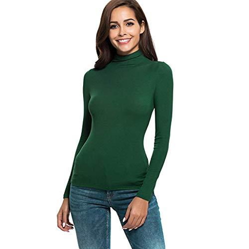 Manga Larga de Las Mujeres Slim Cuello Alto Color sólido cálido y cómodo Camiseta de algodón Camisa...