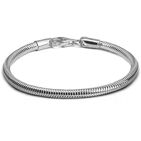 Noda cadena de plata de ley 3mm de typo serpiente 18cm