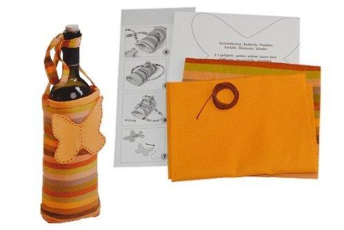 Nähset Komplett für Flaschentasche Schmetterling Bastelset Flasche Deko Stoff