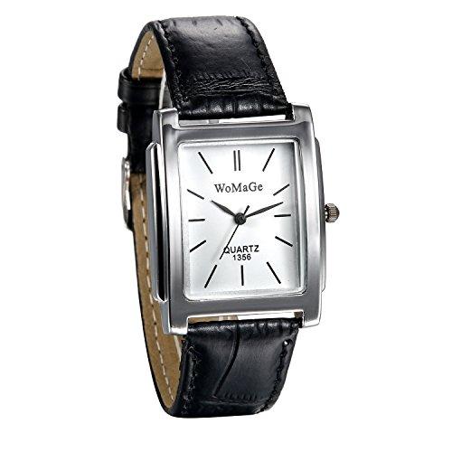 JewelryWe Damen Armbanduhr Klassiche Analog Quarz schwarz Leder Band Uhr mit rechteckigem Zifferblatt