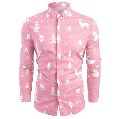 Auifor Men Casual Schneeflocken Sankt Süßigkeit Printed Christmas Shirt Spitzenbluse