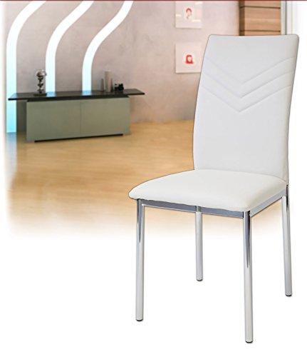 Albatros 2935 VERONA Set de 4 sillas de comedor, blanco, pie de...