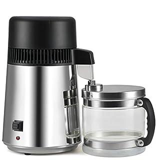 AKUNSZ Wasserdestilliergerät, 4L Profi Wasserdestillierer Edelstahl Wasser Destille inkl. Destilliergerät mit Glas Sammelkanne + TDS Wassertest + 2 Aktivkohlefilter + Reinigungsmittel(Edelstahl)