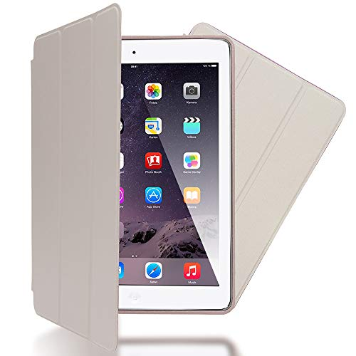 NALIA Smart-Case kompatibel mit iPad Air 1, Ultra-Slim Cover Dünne Tablet Schutzhülle, Kunst-Leder Hardcase Multi-Ständer Tasche, Bildschirm-Schutz und Backcover Flip-Case Klapphülle Sleeve - Beige Grau