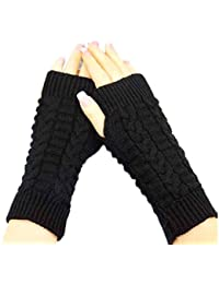 Amonfineshop(TM) Fashion Strick Arm Fingerwinterhandschuhe Unisex weiche warme Fausthandschuh (schwarz)