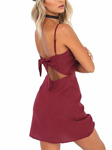 Simplee Apparel - Robe - Moulante - Femme rouge vin