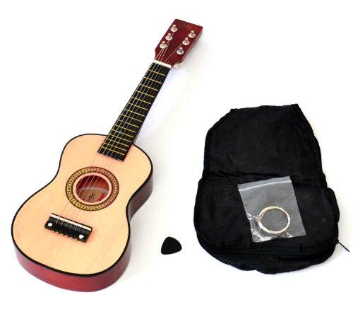 Ts-Ideen 5202 Kinder Gitarre Spielzeuggitarre aus Holz 59 cm ab 3 Jahre mit Tasche und Ersatzsaiten natur/rotbraun