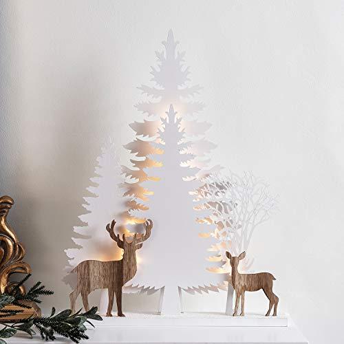 Lights4fun 15er LED Weihnachtsbaum Silhouette Batteriebetrieb Timer