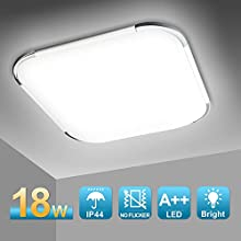 Hengda 18W LED Lampada a soffitto Impermeabile IP44 Bianco Freddo 6500K Bagno Plafoniere LED per Cucina Sala da pranzo Balcone Camera da letto