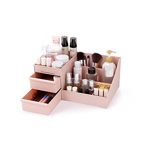 Desktop Cosmetics Aufbewahrungsbox mit Schubladen, BAFFECT & reg; Make-up Organizer Schubladen Abteilung Schreibtisch Veranstalter Make-up Veranstalter für Schlafzimmer Badezimmer Büro (Pink) - Schublade Desktop