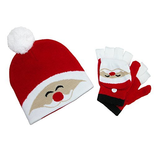 CTM Kid's Winter Themed Hat and Convertible Mitten Set