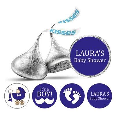 Darling Souvenir 190 PC-Baby-Duschen-Sticker Hersheys Küsse DIY Süßigkeit Bevorzugung-Royal Blue - Baby-dusche-bevorzugung Süßigkeiten