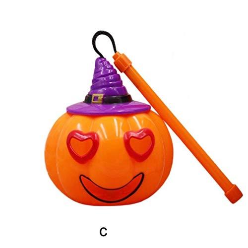 FORH Halloween Dekor Papierlaterne Hängelampe 1PC Kürbis Design Lampen lustige Kürbis Spinne Geist Schläger Kinder Halloween Spielzeug Dekorationen für Tische (C)