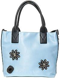 PINKO ACCESSORI Pinko Bag in Raso Light Blu con Strass Canesca 7276d4a5178