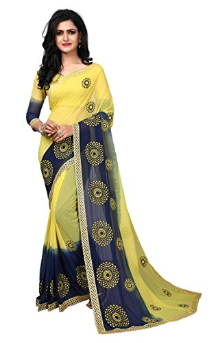 Fab Valley Yellow Color Georgette Fabric Embroidery Work Designer Saree For Women