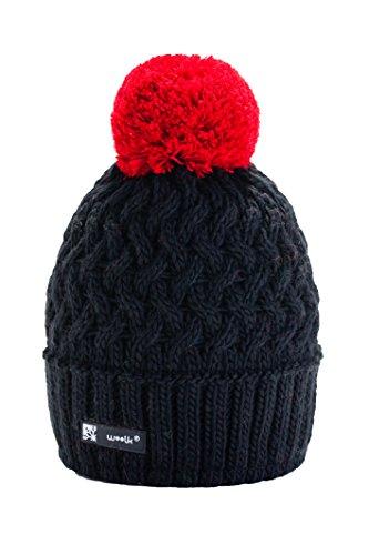 Unisexe Bonnet d'hiver Gâteau Style chaud doublure polaire Garçon Fille Enfants Chapeau pom pom Multicolore (Black)