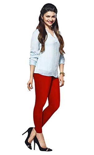 Lux Lyra Women\'s Cotton Ankle Length Leggings (Lux_Red_Regular)
