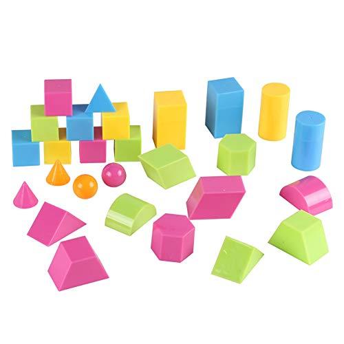 0Miaxudh Geometrische Körper, 24Pcs 3D Geometrische Feste Bunte Form Sehhilfen, Math Education Student Toy 27pcs