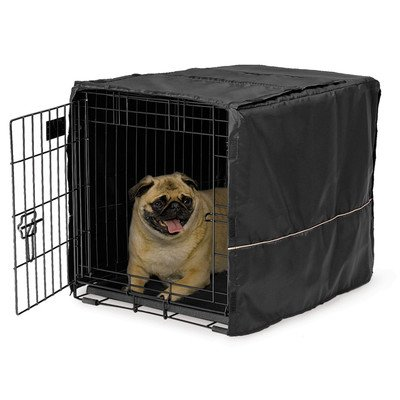 "Quiet Time Black Polyester Dog Crate Cover Size: 91.44 cm (36"")"