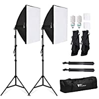 Amzdeal Softbox Photo Lighting Studio 1140W Continuous Lighting Kit 2pcs 5500K Bulbs and 50 x 70 Soft Boxes for Professional Photography