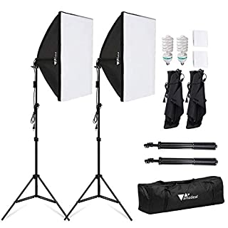 Amzdeal - Kit de softbox para Estudio fotográfico, Incluye: 2 softbox de 50 x 70 cm, 2 Bombillas de 135 W de luz Diurna de 5500 K y 2 trípodes Plegables (B00KDW66JE) | Amazon Products