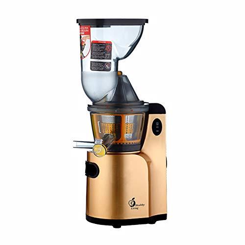 JIAX Langsam masticating Entsafter Extractor, BPA frei Compact Obst & Gemüse Entsafter, mit Anti-Tropf-Funktion leicht zu reinigen, leiseren Motor-Reverse-Funktion,Gold