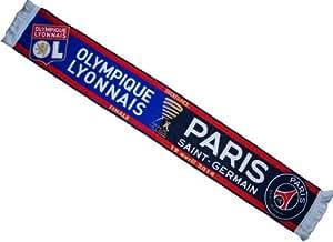 ECHARPE PSG PARIS SAINT GERMAIN / LYON OL Olympique Lyonnais - Collection officielle Finale Coupe de Ligue 2014 de Football
