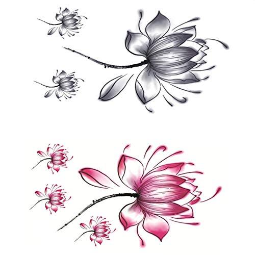 Hotaluyt2 fogli corpo fiore donne tattoos signora impermeabile temporary floreale posteriore del torace sticker