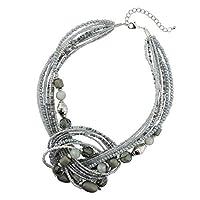 BOCAR Aquamarine Seed Beads Antique Gold Multilayer Statement Collar Necklace (Grey)