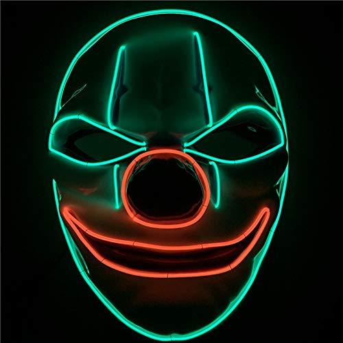 Yool Clown LED-Maske, Kalte Licht Halloween-Maske Beleuchtet Lustige Maske Großen Festival Cosplay Kostüm Party-Maske In der Dunkelheit
