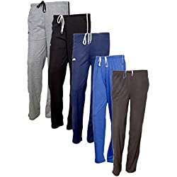 Indistar Women's Premium Cotton Lower with 1 Zipper Pocket and 1 Open Pocket(Pack of 5)_Grey::Blue::Brown::Blue::Brown-38