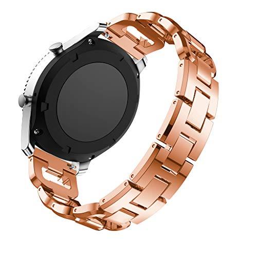 Lazzgirl Ersatz-Metallkristall-Uhrenarmband-Handgelenksband für Samsung Gear S3 Classic(Rotgold, One Size)