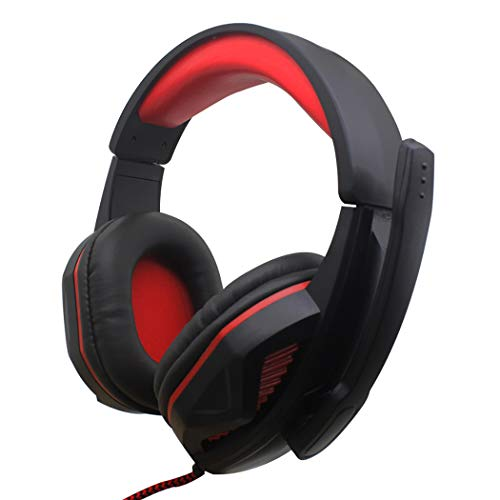 Mzq-yq Internet Cafe Game Esports Auricular, Instrumento Musical electrónico PC Auricular, Alta resolución, Efecto subwoofer, (Color : Black Red)