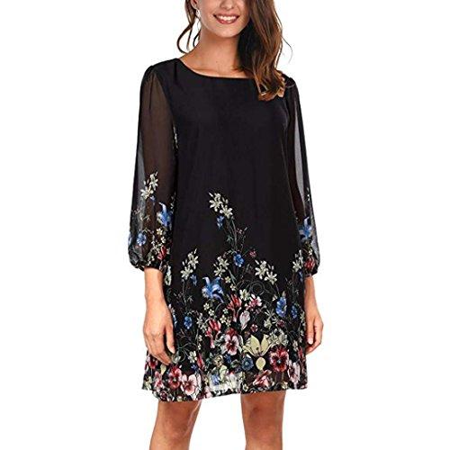 Damen Kleider,Transwen Frauen Blumenmuster Dreiviertel O Neck Loose Fit Chiffon Kleid Abendkleid...