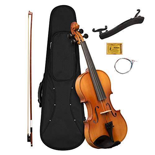 CASCHA 4/4 Violine mit Hardcase I Geigen Set für Jugendliche und Erwachsene I Hochwertige Geige mit Bogen Kolophonium und Ersatz Geigensaiten I Vollmassive Geige mit Koffer im praktischen Set