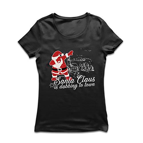lepni.me Camiseta Mujer Papá Noel Dabbing a la Ciudad - Feliz Navidad (Large c9c2057570ce8