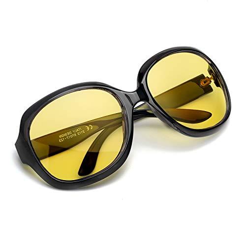 Myiaur Mode Gelben Nachtsichtbrille übergroßen Vintage Rund HD Sonnenbrille Autofahren für Damen mit Polarisierten Entspiegelten 100{ed8f5b8e17531bbd4beebbecbdc2a84ffaf1fb6116fbb43a07f448de2190ddba} UVA UVB Schutz (Schwarz)