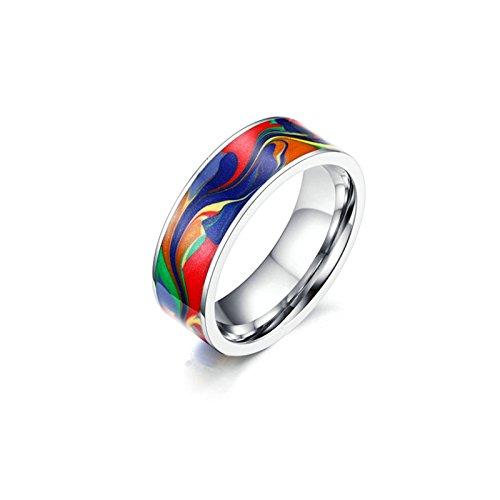 Onefeart Damen Herren Edelstahl Ring Hochzeitsband,Abstraktes Öl Malerei Emaille 7MM Größe 62 (19.7) Silber (Abstrakte Mesh)