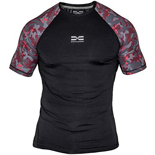 Feflogx Sportswear Rashguard Camouflage Herren | Hochwertiges Funktions-Shirt mit Kompression | Sport-Shirt perfekt für Fitness, Gym und Kampfsport