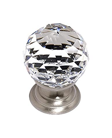 Alno C210-SN Traditional Crystal Knobs, 1-1/4, Satin Nickel by Alno