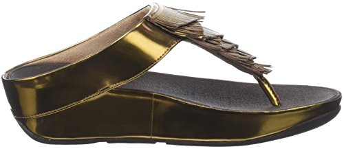 FitFlop Damen Cha Fringe Toe-Thong Sandals Peeptoe Brown (Bronze)
