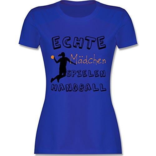 Handball - Echte Mädchen Spielen Handball schwarz - S - Royalblau - L191 - Damen T-Shirt Rundhals