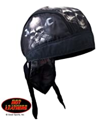 Hot Leathers Authentic Bikers Premium Headwraps, SKULL & WRENCH BONES - High Quality Micro-Fiber & Mesh Lining HEADWRAP