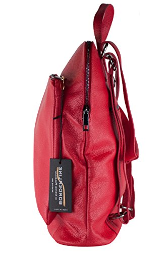 BORDERLINE - 100% Made in Italy - Borsa Zaino in Vera Pelle - BEATRICE Rosso