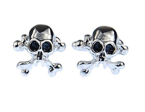 Miniblings Totenkopf Manschettenknöpfe Knöpfe + Box Skull Schädel Halloween silb (Schmuck-box Schädel)