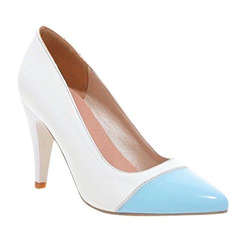 Multicoloridas Bombas Altos Fechadas Saltos Branco Mee Sapatos Senhoras xXqwvtZI