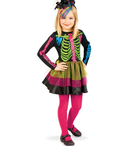 KarnevalsTeufel Little Catrina, 1-TLG. Kinder-Kostüm, Skelett, Mexikanerin, La Pequeña Catrina, Día de los Muertos, Tag der Toten, mexikanisches Volksfest, Cempasúchil, Sugar - Dia De Los Muertos Kostüm Mädchen