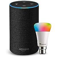 Amazon Echo (Black) Bundle with Syska 9W smart color bulb